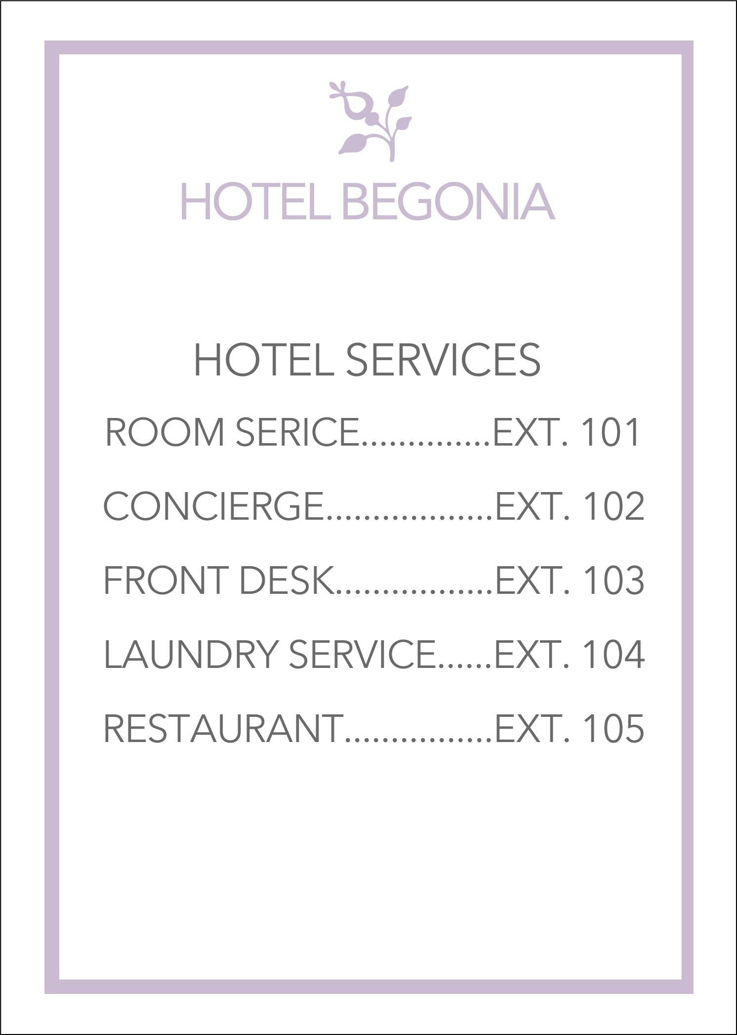 Hotel Begonia Phone
