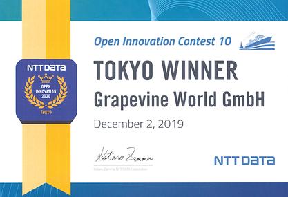 NTT DATA WÄHLTE GRAPEVINE ZUM GEWINNER DES OPEN INNOVATION CONTEST 10 IN TOKIO
