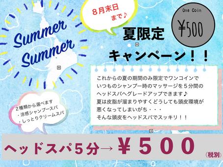 夏のワンコインキャンペーン♪