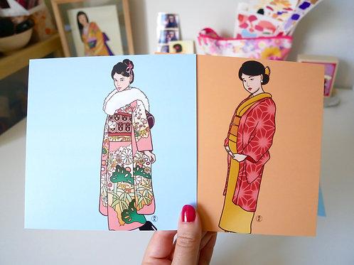 Kimono Gal Square Postcards (Set of 2)