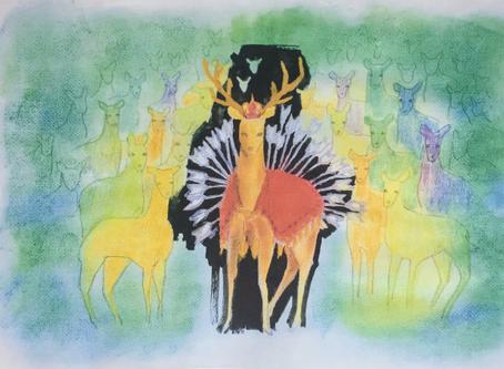 矢を背負う鹿