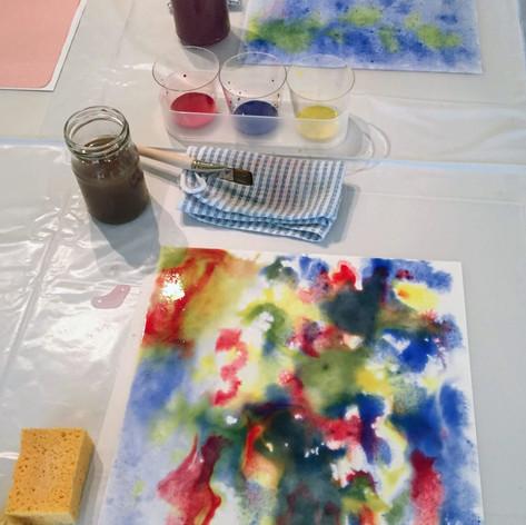 ぬらし絵 wet on wet painting