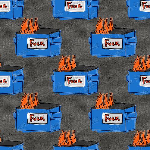 Fuck Dumpster fire regular scale Fabric Cotton Lycra Woven RETAIL