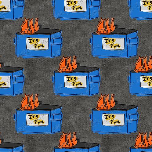 it's fine Dumpster fire regular scale Fabric Cotton Lycra Woven RETAIL