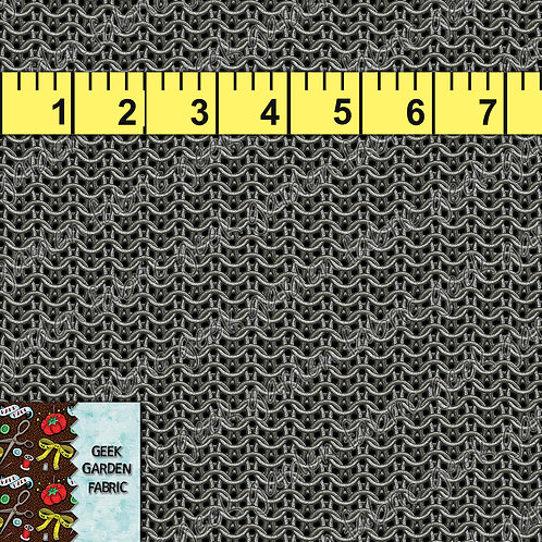 "Chainmail small Fabric RETAIL Cotton Lycra Woven Vinyl 12"" roll"