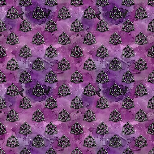 Triquetra purple galaxy Fabric Cotton Lycra Cotton Woven Fluff RETAIL
