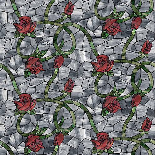 DW ROSE F stained glass Fabric Cotton Lycra Woven fluff