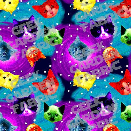 Neon rainbow Galaxy cat large scale Fabric Cotton Lycra Cotton Woven RETAIL