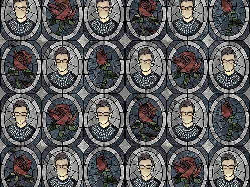 RBG I Dissent ROSE regular scale stained glass Fabric Cotton Lycra Cotton Woven