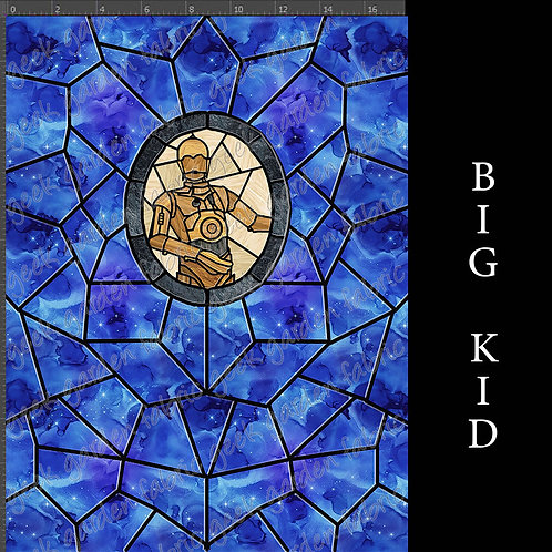 Protocol Droid panel stained glass Adult or big Kid cotton woven Cotton L