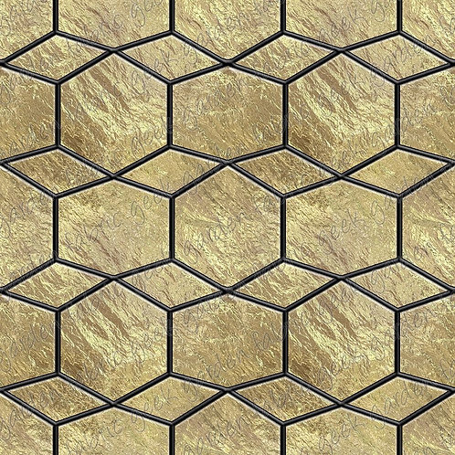 Gold geo stained glass sheet Fabric Cotton Lycra Cotton Woven swim retai