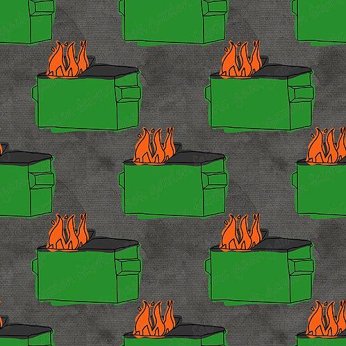Dumpster fire regular scale Fabric Cotton Lycra Woven RETAIL