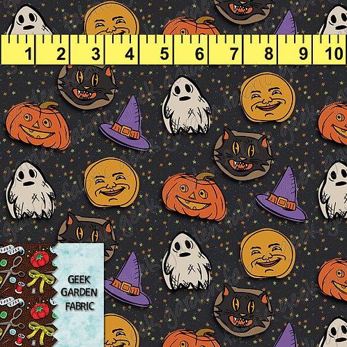 U Happy Halloween stars Fabric RETAIL Cotton Lycra Woven