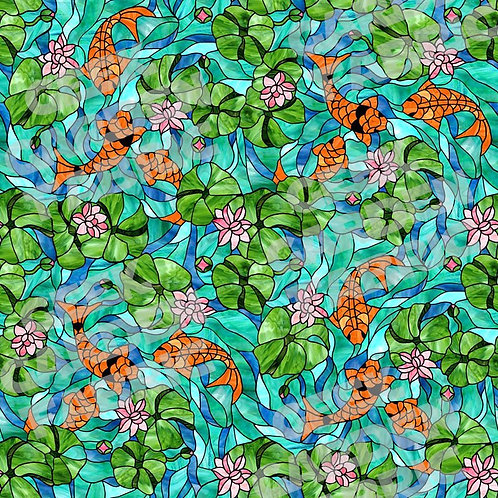 KOI stained glass Fabric Cotton Lycra Cotton Woven