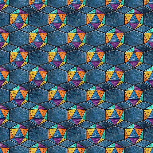 How I roll midnight small scale stained glass Fabric Cotton Lycra Woven RETAIL