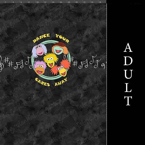 Music Rocks black wash panel Adult or big Kid cotton woven Cotton Lycra