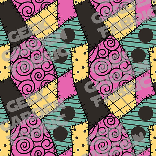 A Sally Patches Fabric RETAIL Cotton Lycra Woven BL