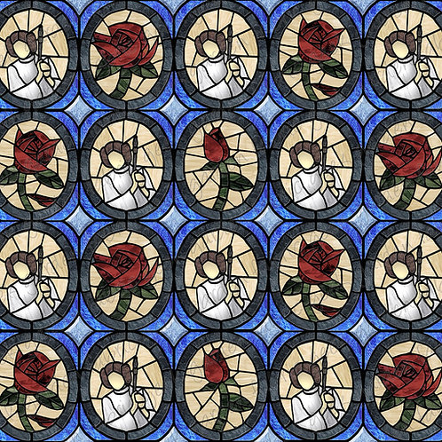 G Princess L rose oval Stained glass Fabric RETAIL Cotton Lycra Woven BL