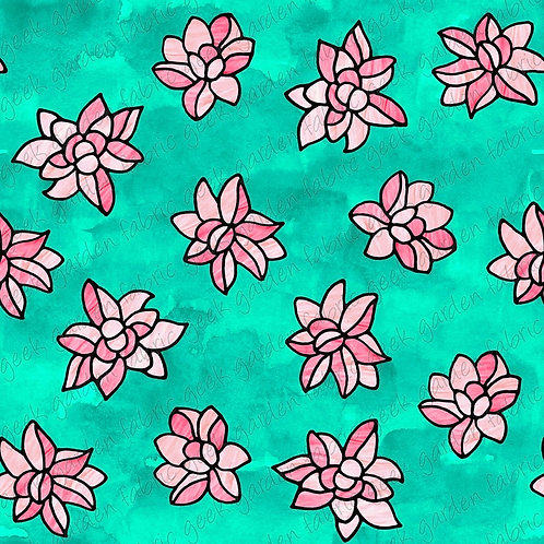Lotus stained glass Fabric Cotton Lycra Cotton Woven