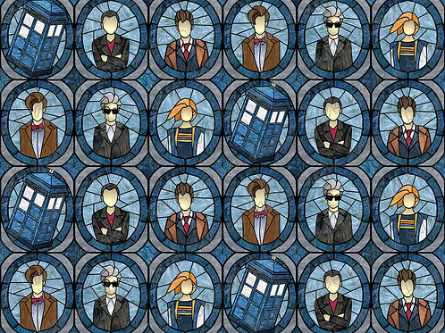 DW 5 doctors N stained glass Fabric Cotton Lycra Woven fluff