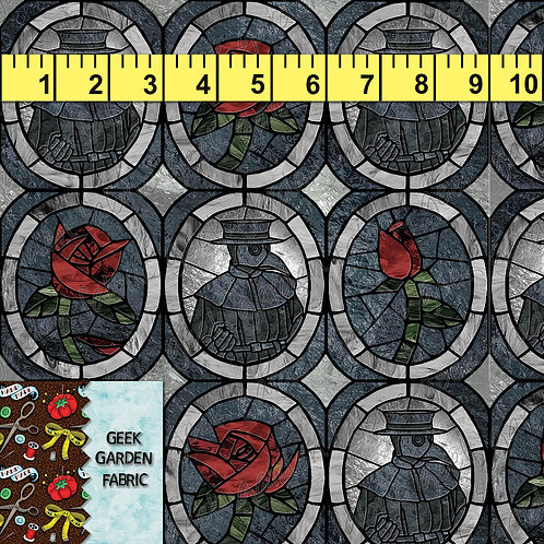 G. PLAGUE DOCTOR ROSE OVAL PREORDER BTY CL, CW, French Terry