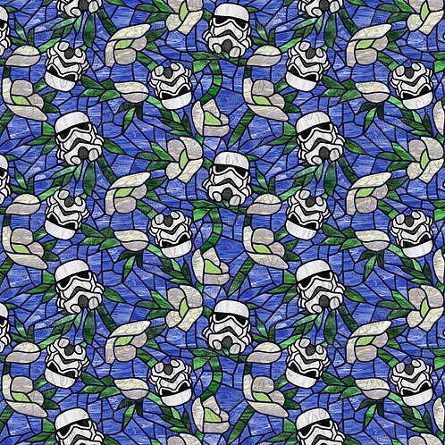 I SW Anemone bucketheads Stained glass Fabric RETAIL Cotton Lycra Woven BL