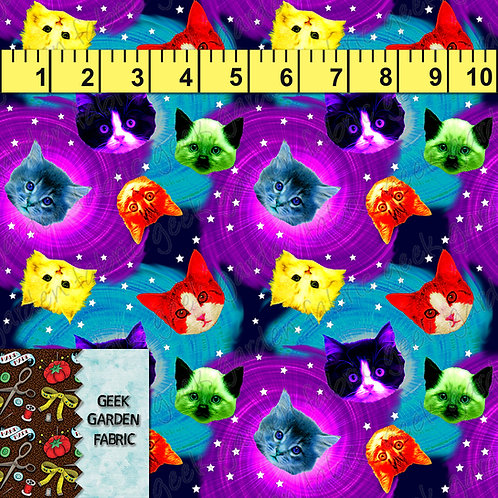 Neon rainbow Galaxy cat small scale Fabric Cotton Lycra Cotton RETAIL