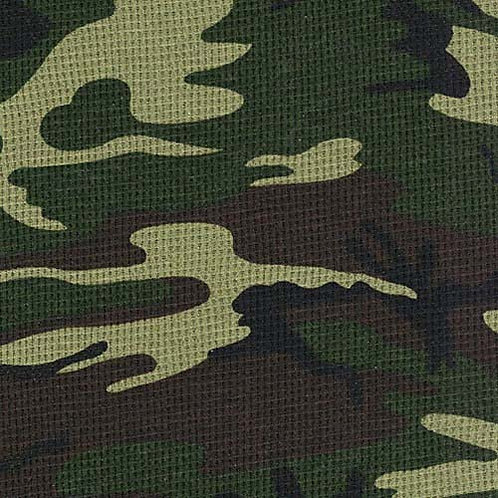 Green Camo waffle Thermal Cotton Poly 10 0z BTY RETAIL