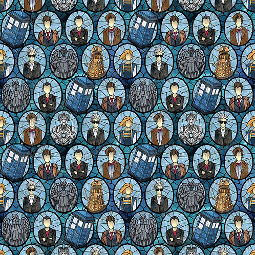 DW 5 doctors Angels Galaxy C stained glass Fabric Cotton Lycra Woven or fluff r
