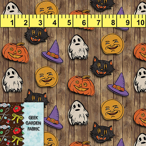 T Halloween Party Wood Fabric RETAIL Cotton Lycra Woven