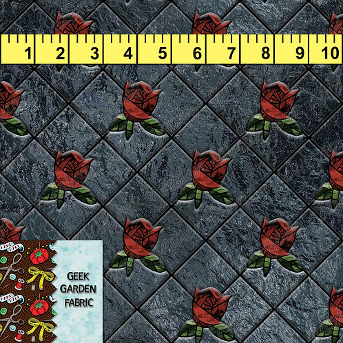 I Diamond cut rose Fabric RETAIL Cotton Lycra French Terry Woven