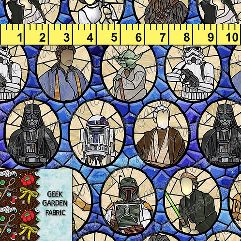 B SW 12 galaxy Large Stained glass Fabric RETAIL Cotton Lycra Woven BL