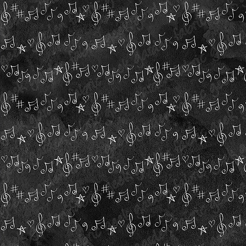 Rock on Notes Fabric Cotton Lycra Woven RETAIL