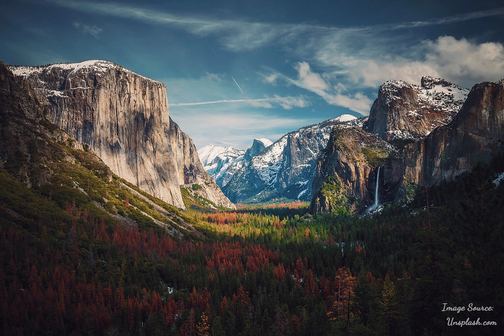 Yosemite National Park Valley and Waterfall