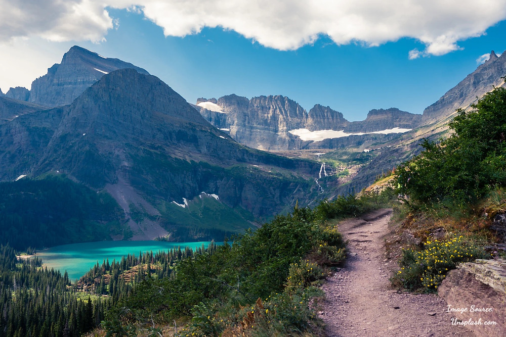 Mountains and blue Grinnell Glacier Lake - Glacier National Park, Montana