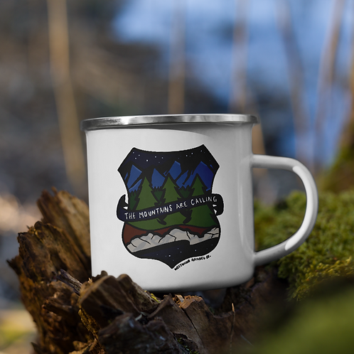 Mountains Calling Enamel Mug