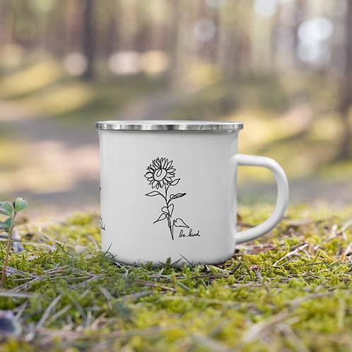 Be Kind Sunflower Enamel Mug