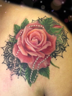 pink peach rose mandala tattoo