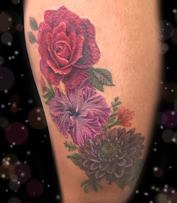 hibiscus rose dahlia tattoo