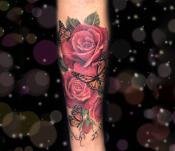 red rose butterfly tattoo