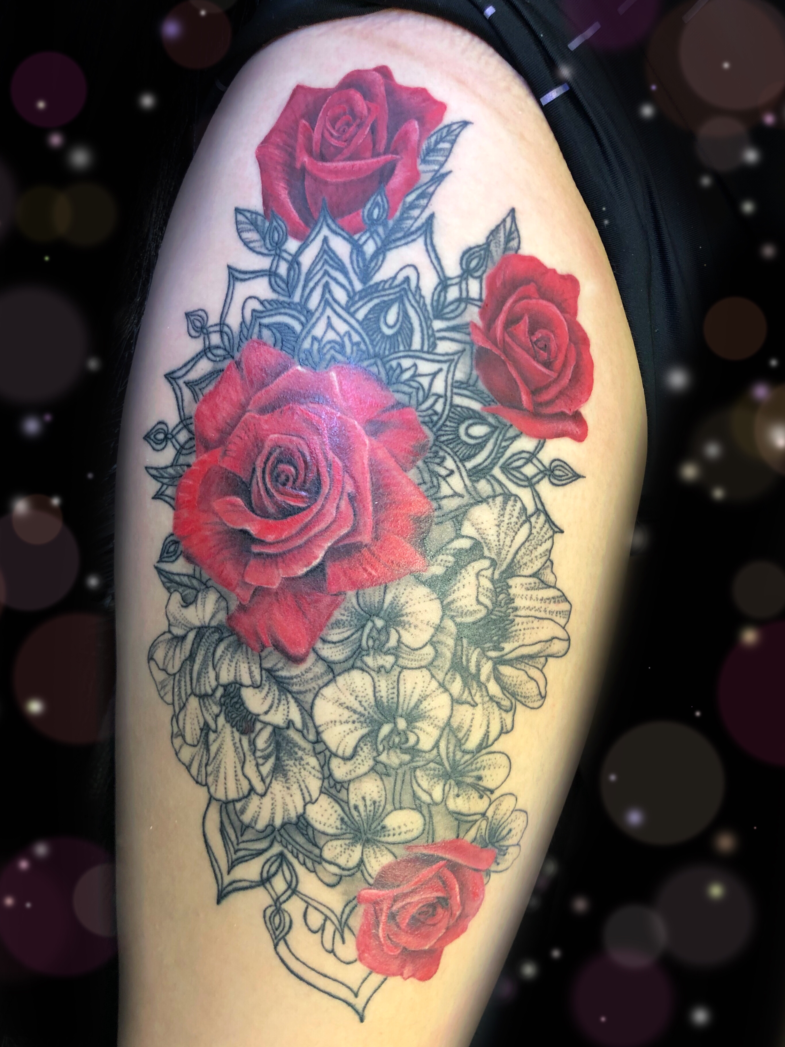 red rose mandala tatoo