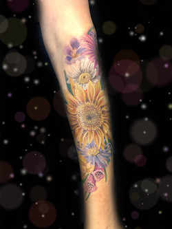 floral tattoo sunflower