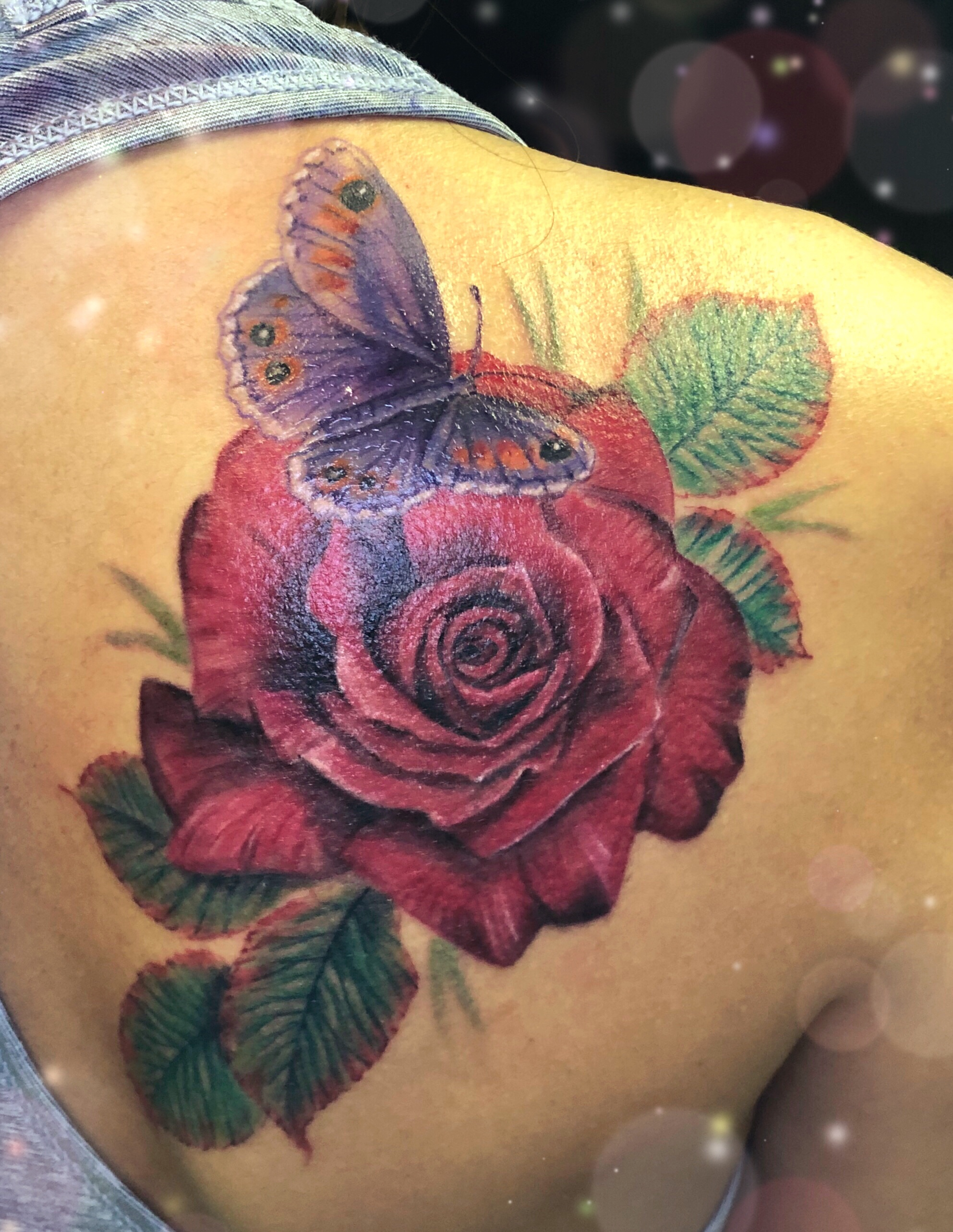 rose butterfly tattoo