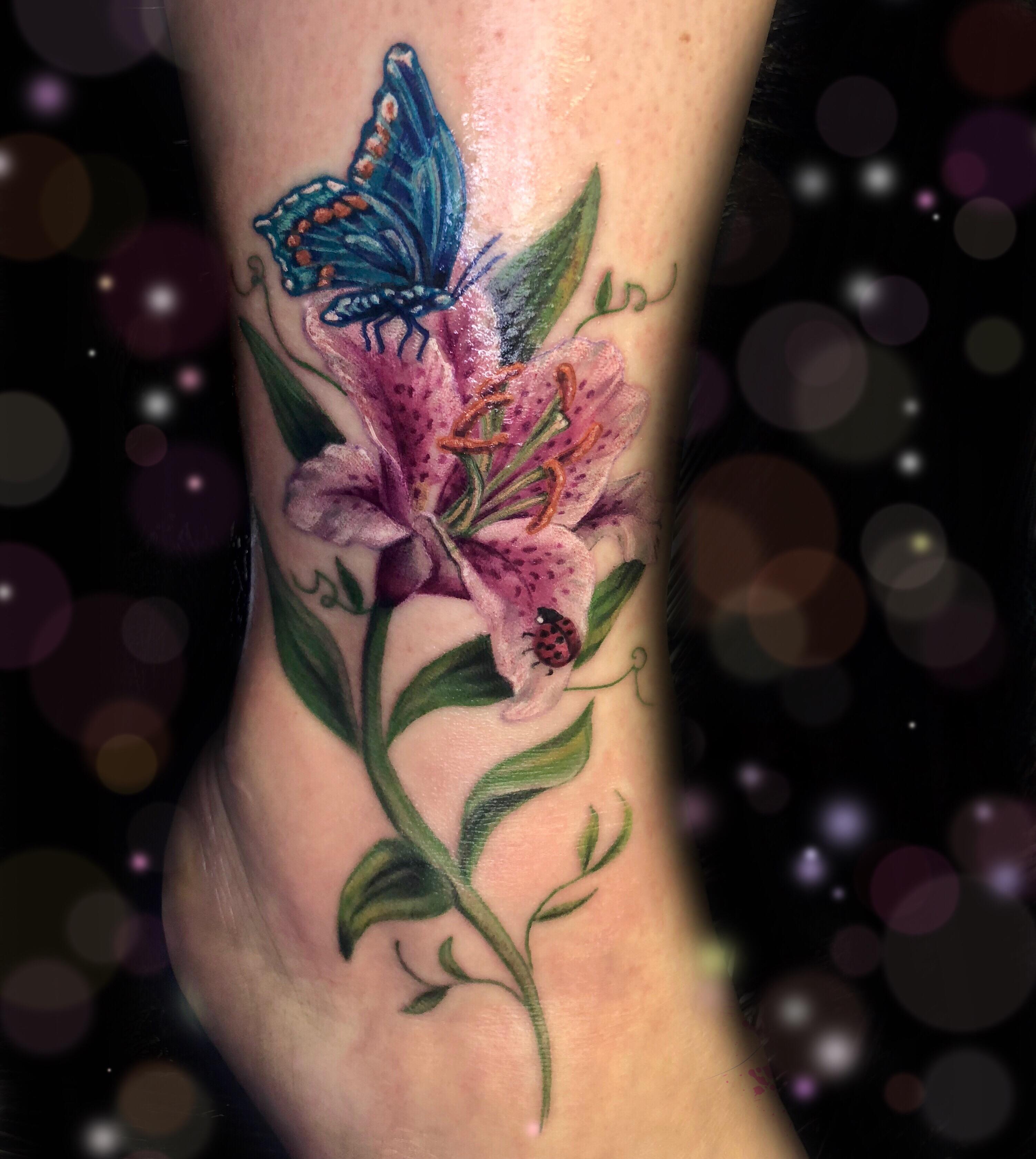 butterfly stargazer lily ladybug tat