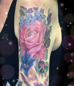 pink rose butterfly tattoo