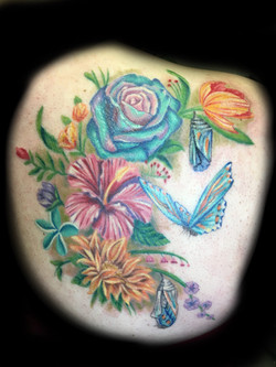 tattoo, tattoo shop, flowers