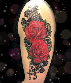 red rose lace tattoo