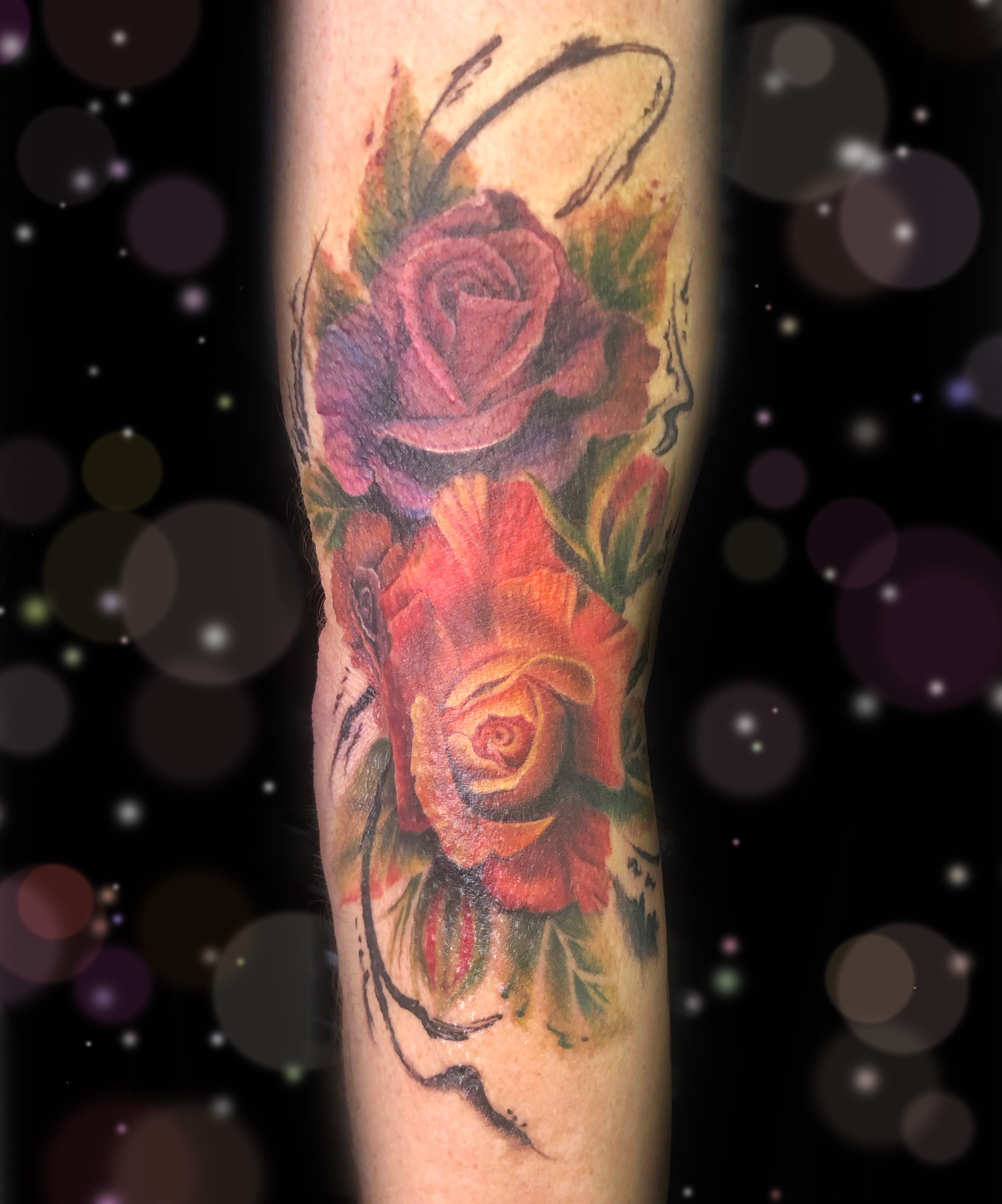 rose watercolor tattoo