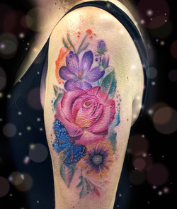 watercolor flower floral tattoo