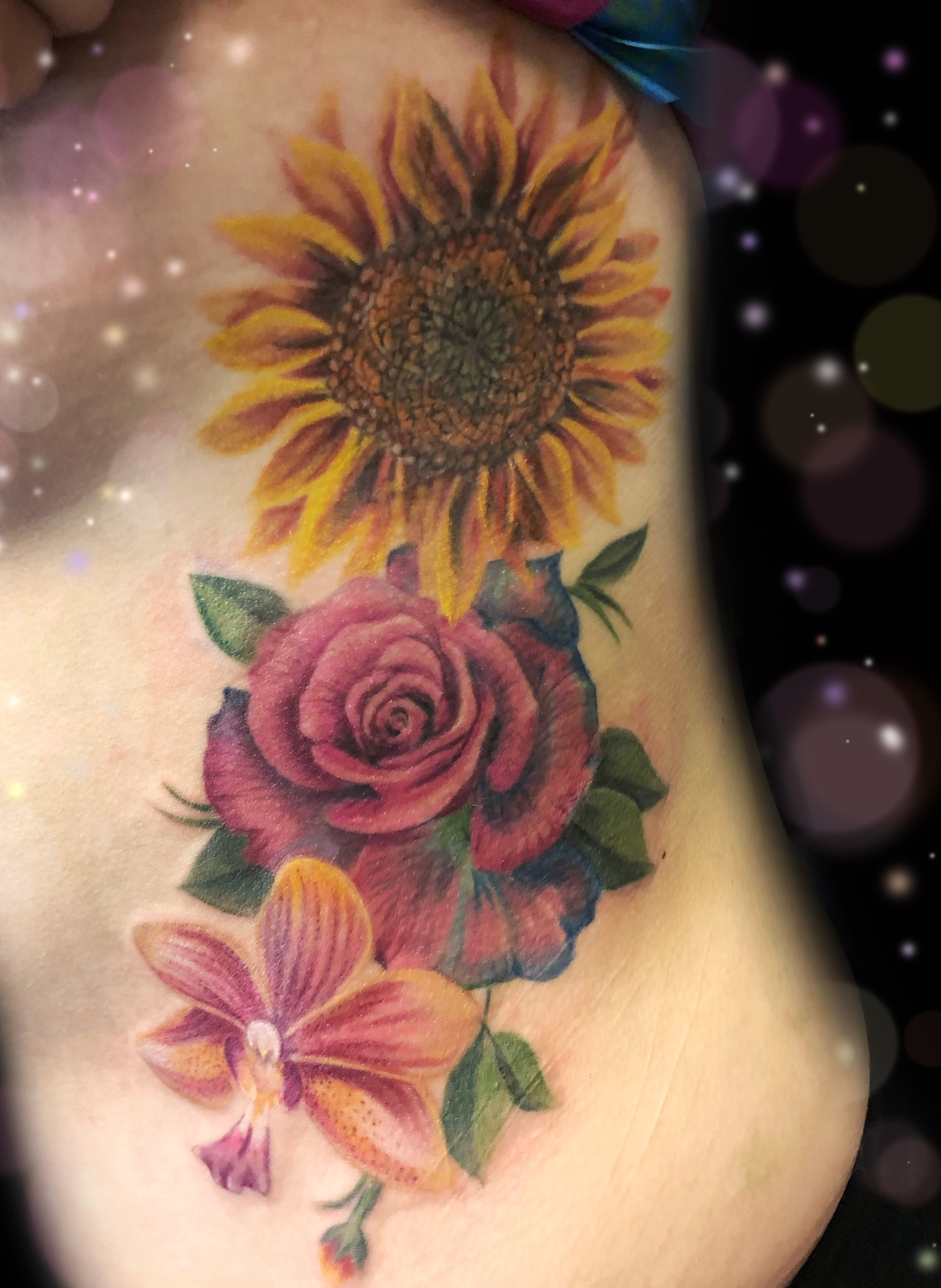 sunflower orchid rose tattoo
